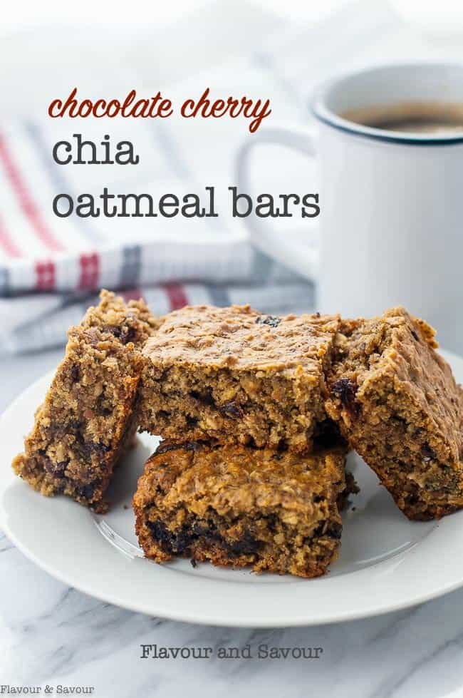 Looking for a gluten-free bar recipe that will satisfy the need for something sweet, but still deliver wholesome, nutritious ingredients? These Chocolate Cherry Chia Oatmeal Bars are a healthy choice when you want something sweet but don't want empty calories. Great for morning coffee, tea, or an after-dinner treat. #chia #peanutbutter #chocolate #oats #sorghum #healthy #proteinbar #flavourandsavour