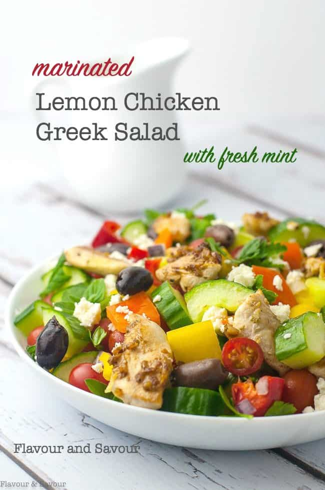 Marinated Lemon Chicken Greek Salad with Mint and fresh herbs. A classic Greek salad made into a skinny dinner salad with marinated boneless chicken breast cubes and a dressing that doubles as a marinade. #Greek #salad #lemon #chicken #no_lettuce #Mediterranean #souvlaki