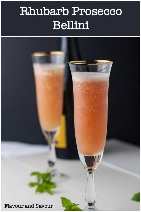 Celebrate warmer days with a refreshing, fun and fizzy Rhubarb Bellini Prosecco Cocktail! The easiest cocktail you'll make all summer! Light and bright, refreshing and delicately pink, it's just sweet enough. #rhubarb #bellini #Prosecco #sparkling_wine #cocktail #rhubarb_compote #flavourandsavour