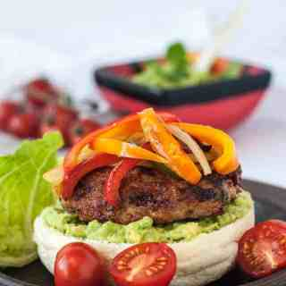 Paleo Chicken Fajita Burgers with Tomatillo Guacamole