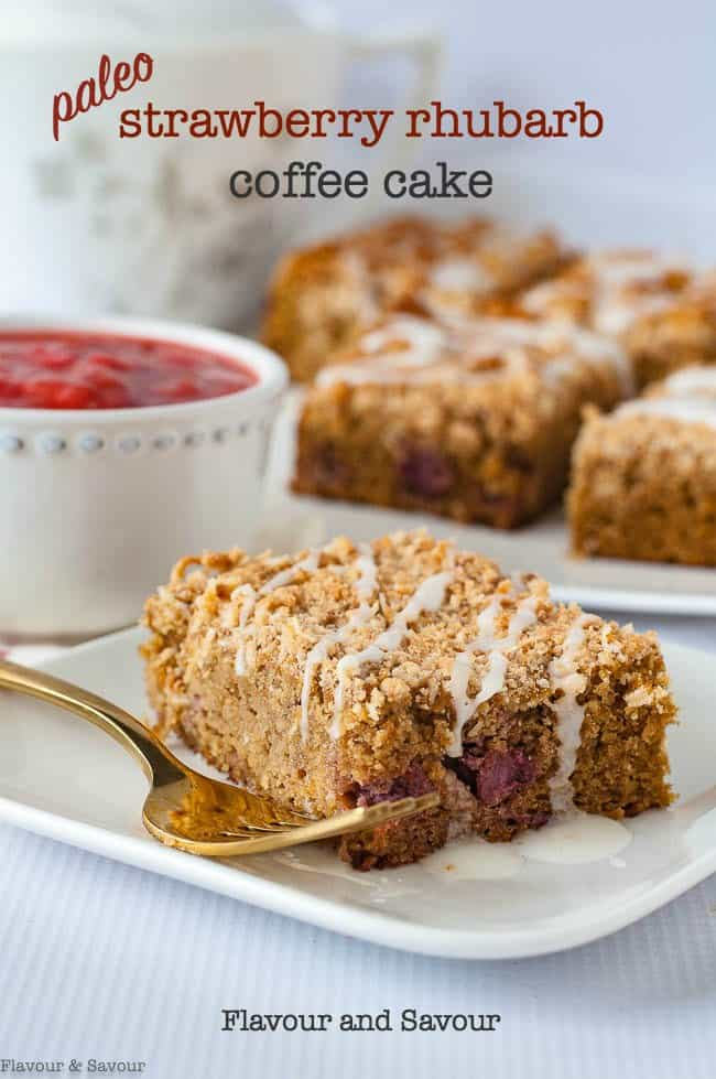 This Paleo Strawberry Rhubarb Coffee Cake with a coconut crumble topping is tender, moist and free of grains and dairy products. It's sweetened with maple syrup and coconut sugar.  You'd never guess it's gluten-free! #paleo #coffee_cake #strawberry #rhubarb #breakfast_cake #glutenfree #almondflour #coconutsugar
