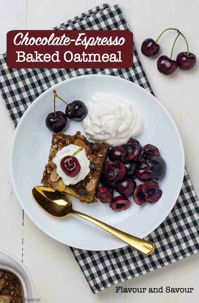 Feel like you're having dessert for breakfast with this wholesome Chocolate Espresso Baked Oatmeal. Make everyday oats special with this easy recipe. #bakedoatmeal #chocolate #coffee #espresso #makeahead #healthybreakfast