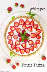 Gluten-free Fruit Pizza with strawberries and mint