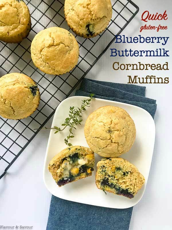 Healthy Blueberry Buttermilk Gluten-Free Cornbread Muffins with a sweet surprise of fresh blueberries in every bite! Round out your meal with these gluten-free cornbreads! #cornbread #glutenfree #blueberries #cornmeal