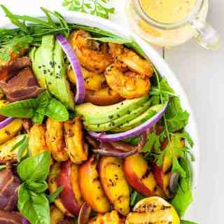 Avocado Grilled Peach and Chipotle Shrimp Salad with Bacon