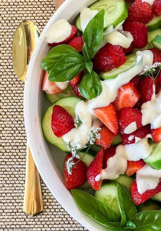 Strawberry Cucumber Salad with Creamy Lemon Dressing