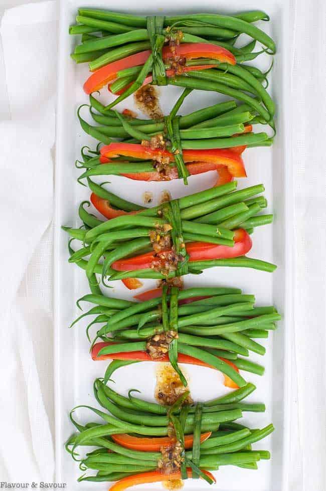 Vegetarian Green Bean Bundles with Garlic butter overhead view