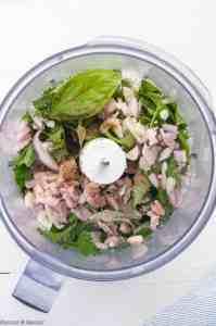Ingredients for Chimichurri Sauce for Chimichurri Shrimp Skewers in food processor