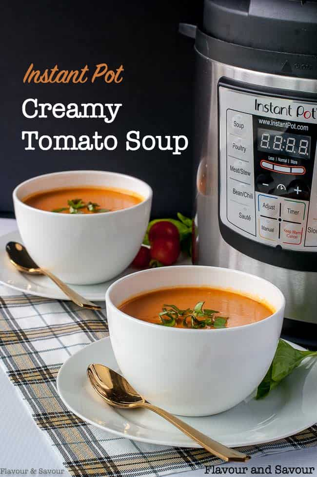 Instant Pot Creamy Tomato Soup in bowls with Instant Pot in background