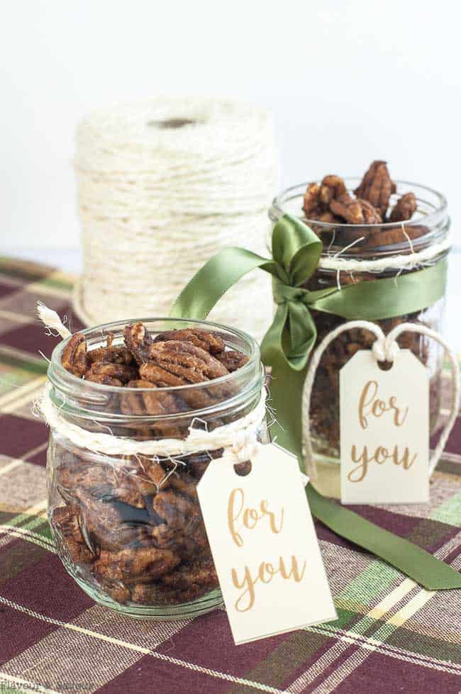 Two gift jars of Low-Carb Pumpkin Spice Roasted Pecans