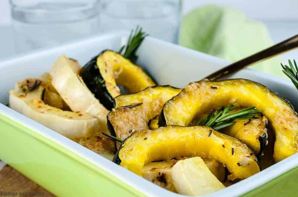 Garlic Parmesan Roasted Acorn Squash in a serving dish