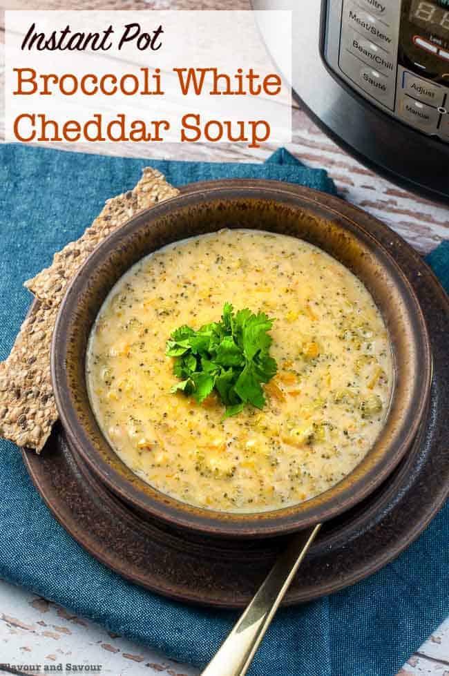 Instant Pot Broccoli White Cheddar Soup title 2