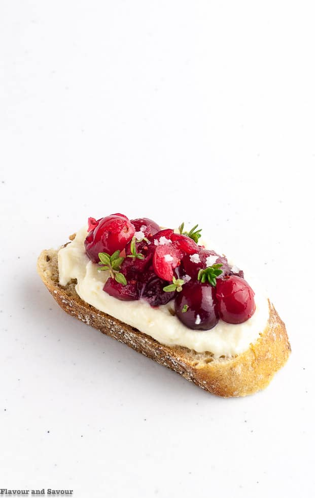 Cranberry Whipped Ricotta Crostini