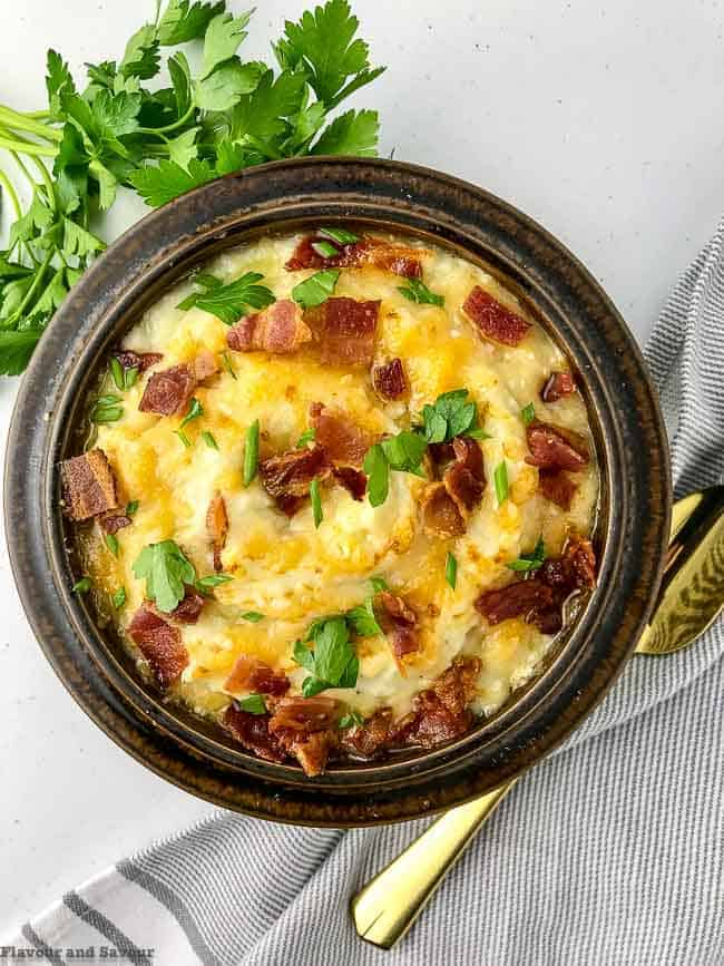 Instant Pot Mashed Cauliflower with Bacon and Cheese overhead view