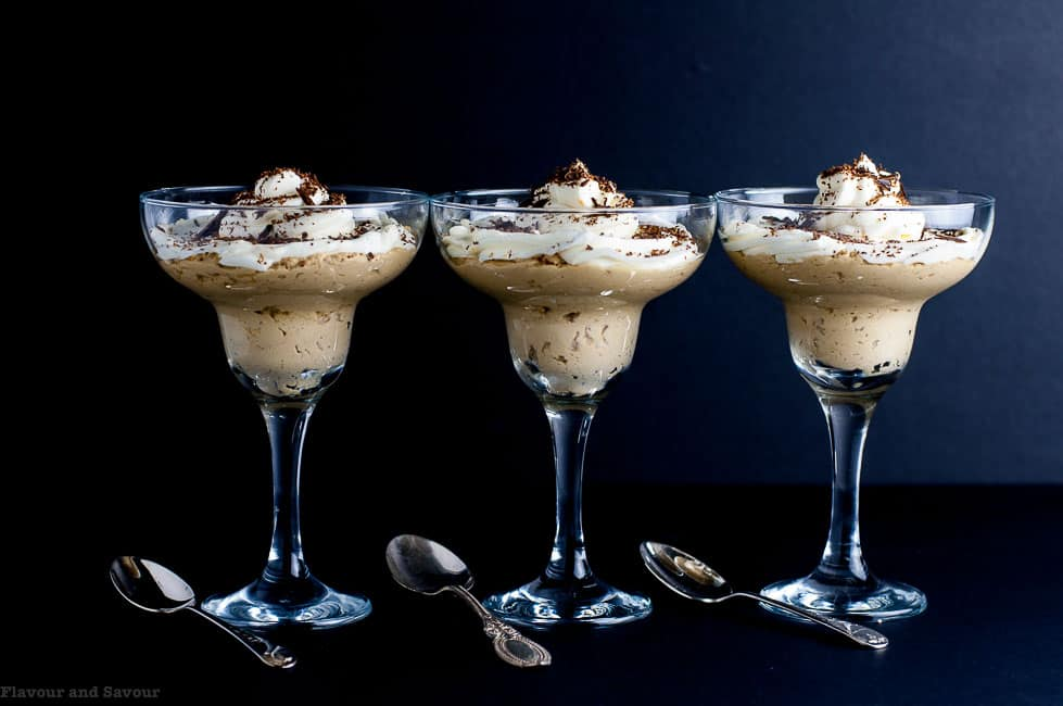 Creamy Ricotta Coffee Mousse in 3 dessert glasses
