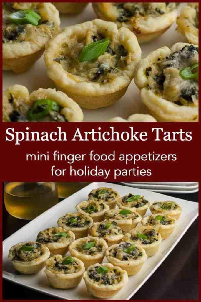 Pinterest Pin for Spinach Artichoke Tarts