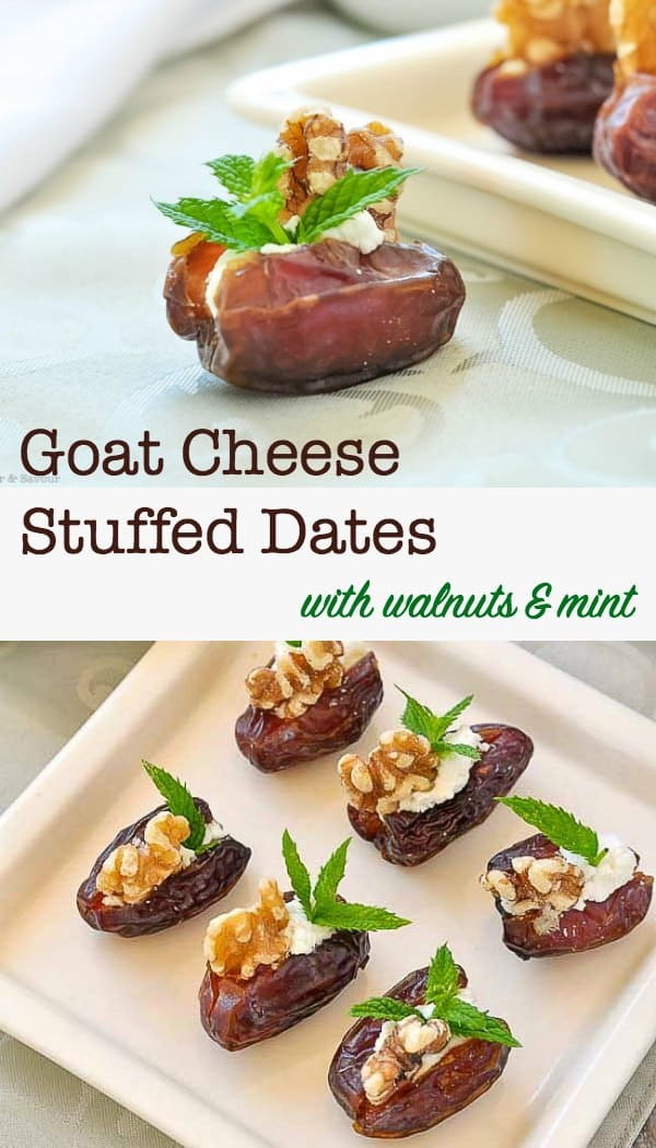 Goat Cheese Stuffed Dates with Walnuts and Mint, one of 20 easy finger food appetizers on Flavour and Savour