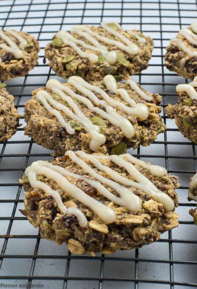 Close up view of Vegan Apple Cinnamon Oatmeal Breakfast Cookies