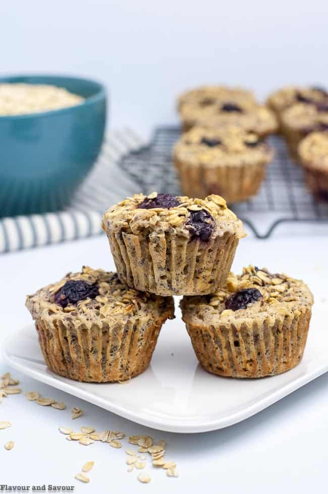 Cherry Vanilla Baked Oatmeal Cups stacked