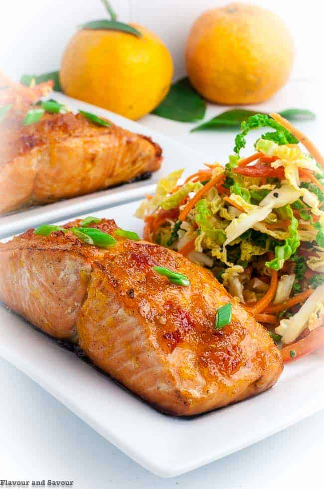 Citrus Glazed Baked Salmon with crisp coleslaw