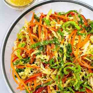 Overhead view of Crunchy Cabbage Coleslaw with Sesame Miso Dressing