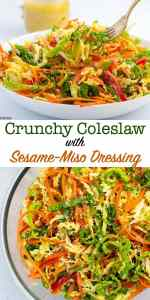 Crunchy Cabbage Coleslaw with Sesame Miso Dressing pin