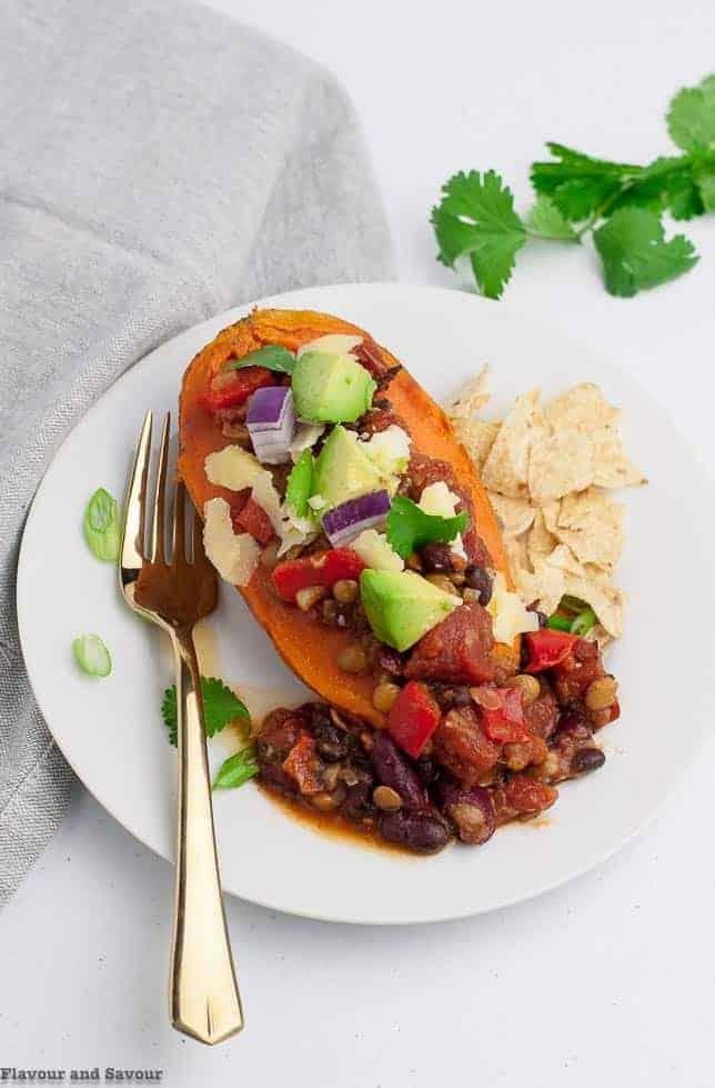 Instant Pot Vegan Chipotle Chili on sweet potato