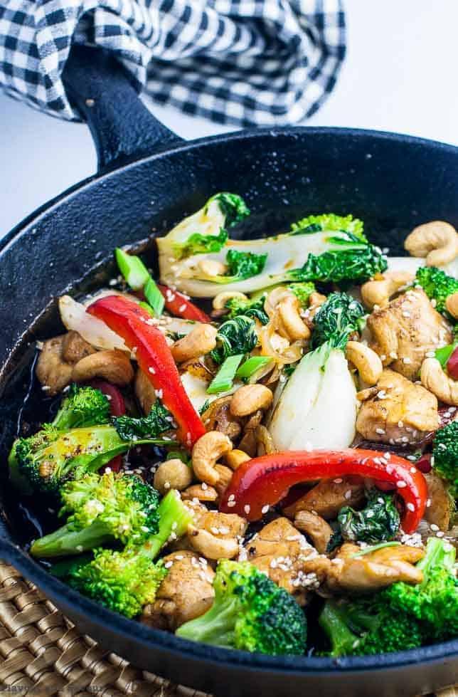 Japanese Chicken Stir Fry in cast iron pan