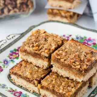 Gluten-Free Maple Walnut Squares on serving plate