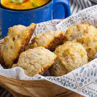 Herbed Gluten-Free Baking Powder Biscuits served with chowder