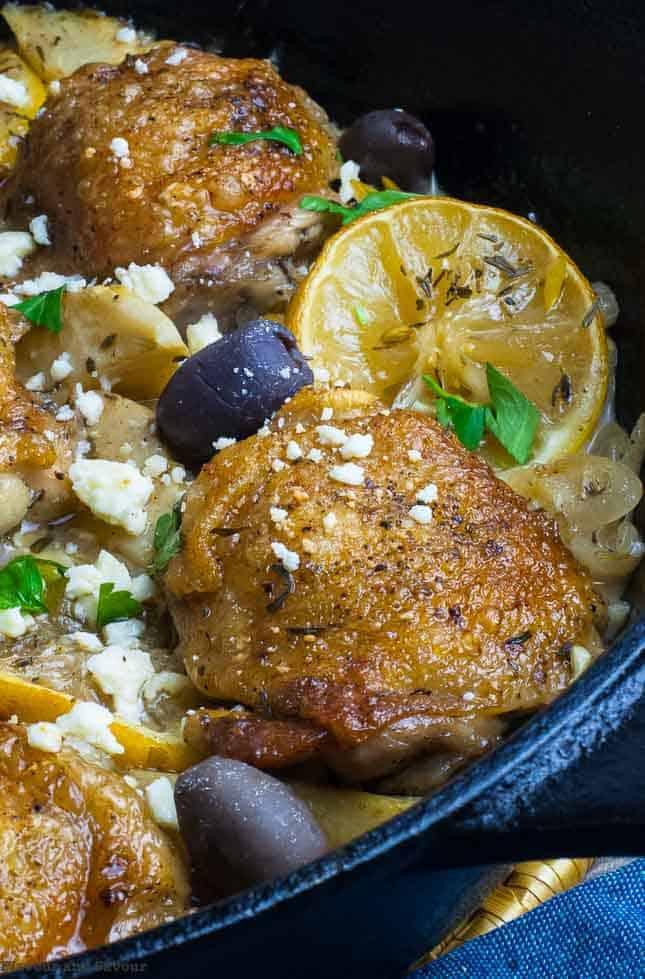 One Pan Baked Lemon Artichoke Chicken Thighs