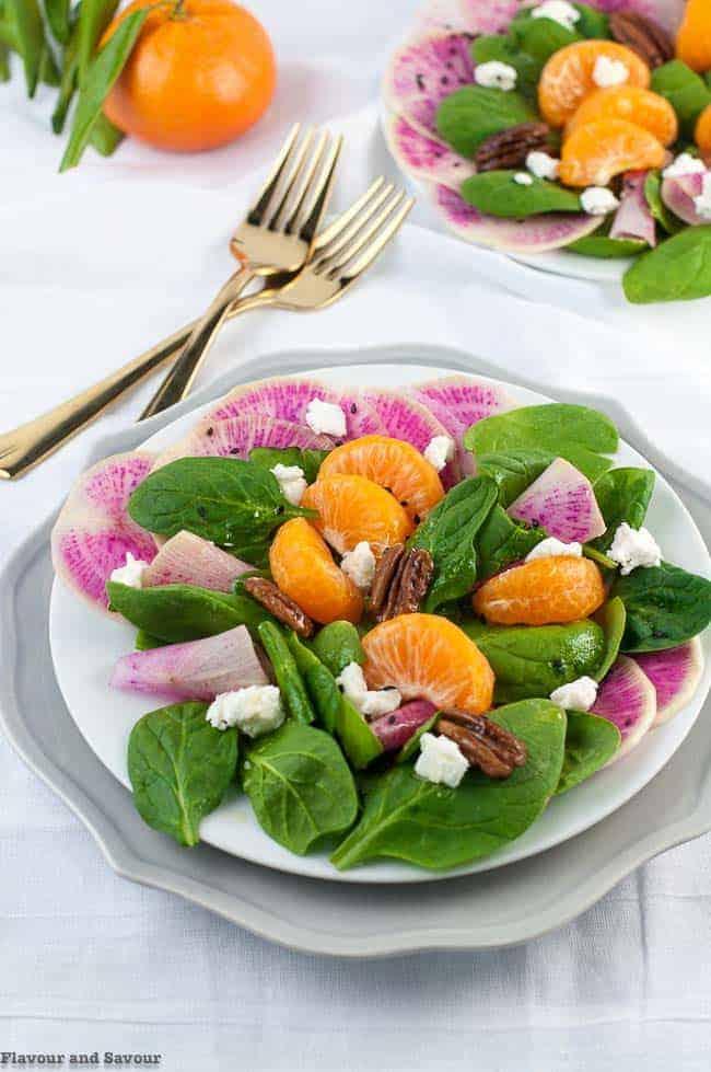 Watermelon Radish Satsuma Spinach Salad