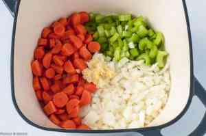 Sautéing Vegetables for Shepherd's Pie with Mashed Cauliflower Crust