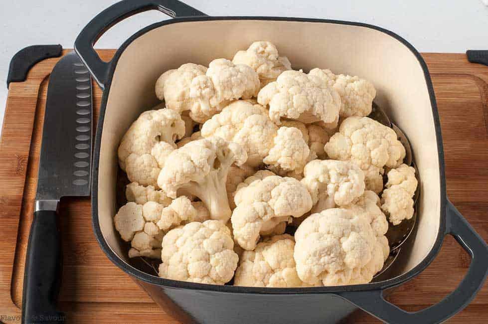 Steaming Cauliflower for Shepherd's Pie with Mashed Cauliflower Crust