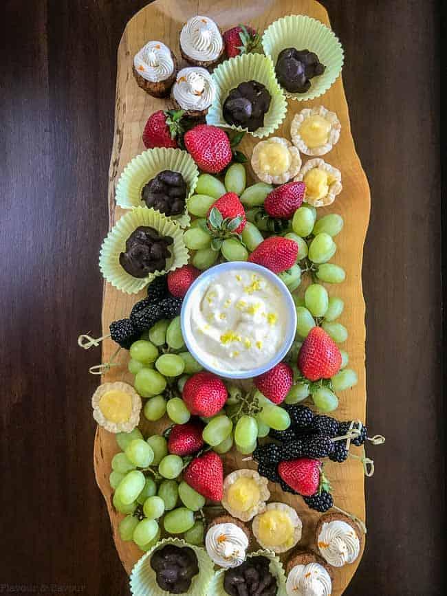 Dessert Board with Mini Desserts, Fresh Fruit and Lemon Curd Dip