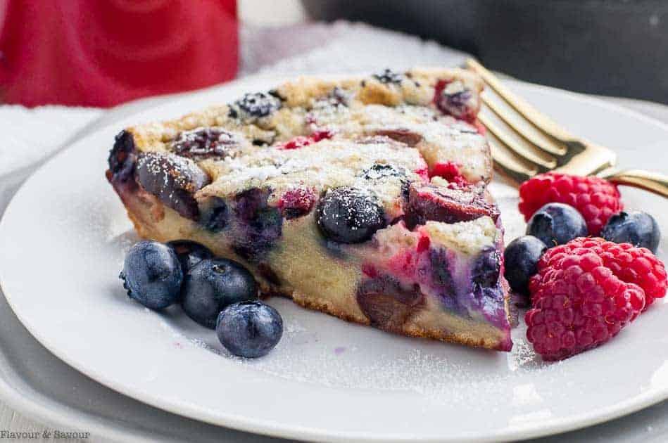 A slice of Cherry Berry Gluten-Free Clafoutis