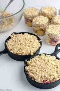 Adding oat topping to mini skillets