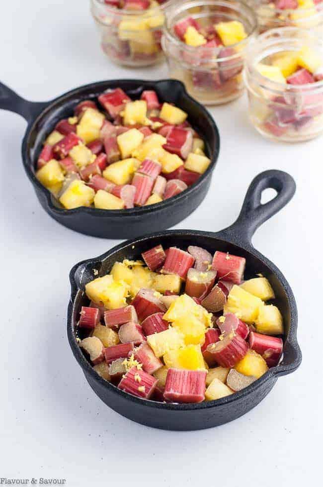 Pineapple Rhubarb mixture in mini skillets
