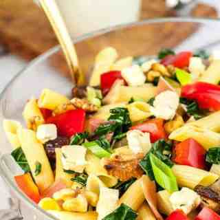 a bowl of Tuscan Kale Pasta Salad with Gorgonzola Dressing