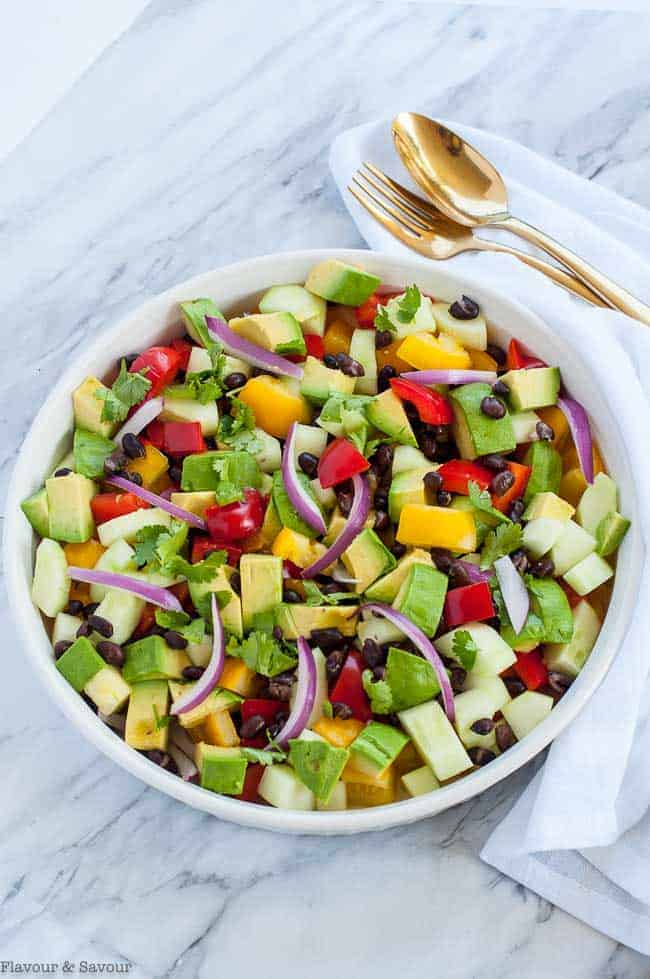 Overhead view of Tomato Avocado Black Bean Salad