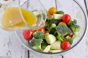Preparing vegetables for cooking in foil