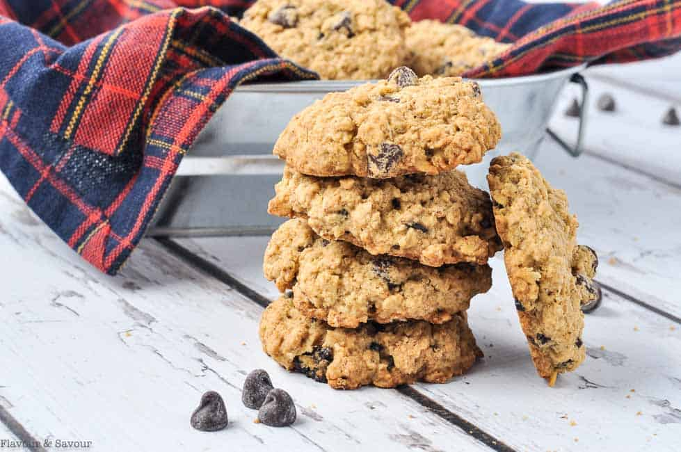 a stack of Gluten Free Cherry Chocolate Oatmeal Cookies