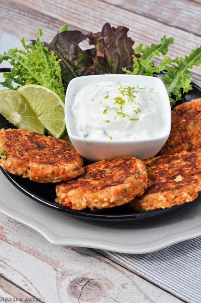 Baked Salmon Patties with Creamy Lime Dip with lime slices