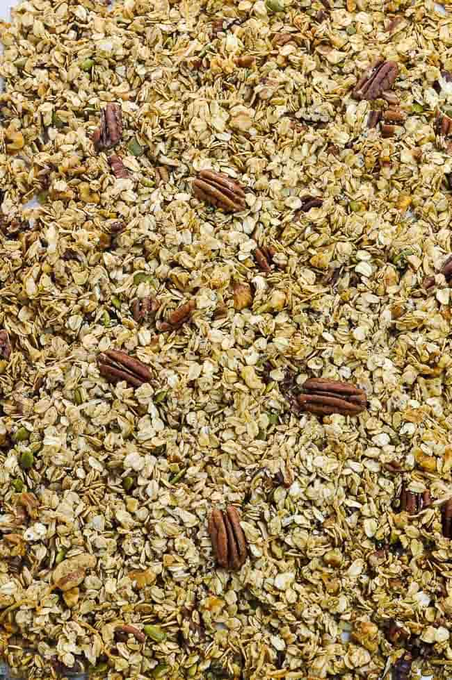 a baking sheet filled with Pumpkin Spice Granola