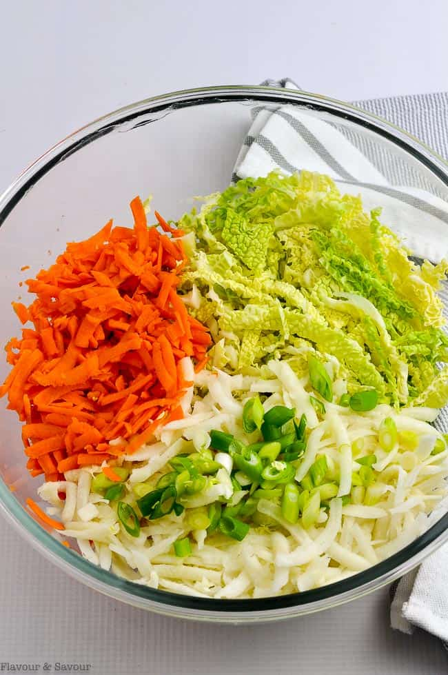 Thai-Style Coleslaw Ingredients in a glass bowl