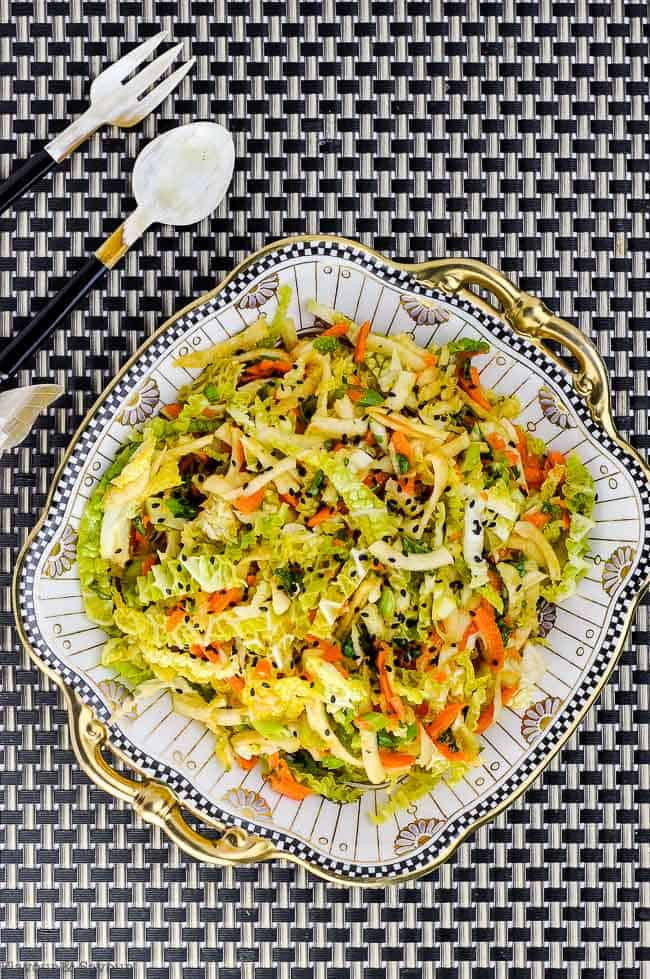 Thai-Style Slaw in an ornate serving dish