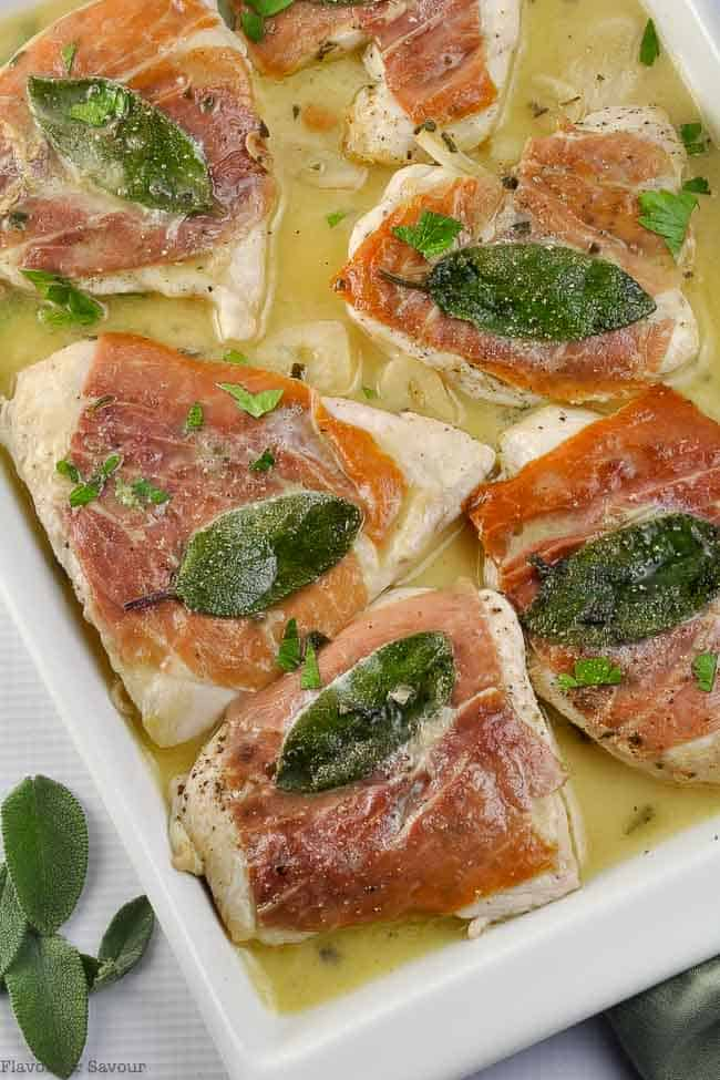 Chicken Saltimbocca cutlets with prosciutto and sage