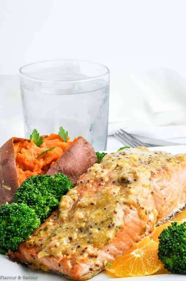 Mandarin Orange Miso Glazed Salmon with Sweet Potato and Broccoli