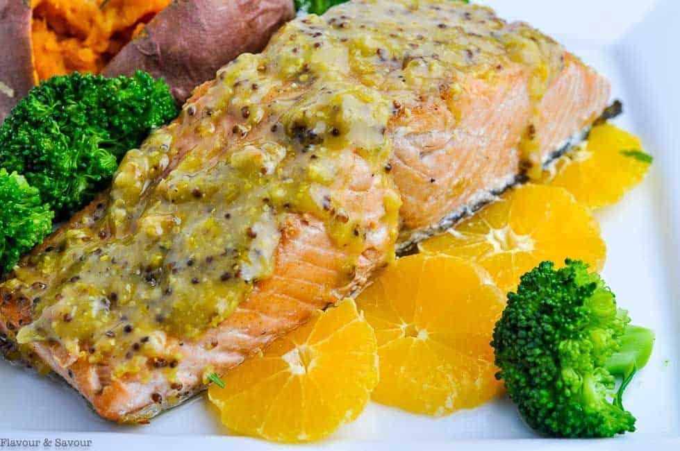Mandarin Orange Miso Glazed Salmon with orange slices