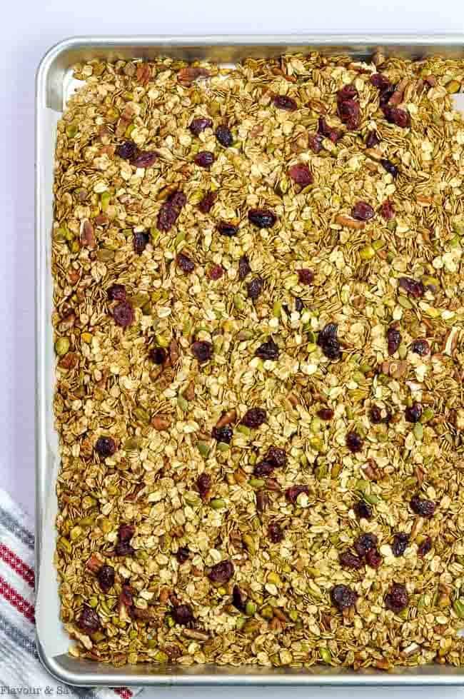A sheet pan of granola after baking